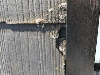 飛来物による屋根材の欠損